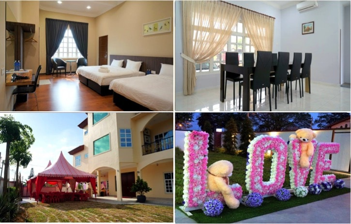 3 private homestay villas in johor with pretty pools that are muar villa has nine rooms each room has a toilet parking for 8 10 cars the place is good for large groups it can accommodate 100 150 people junglespirit Choice Image