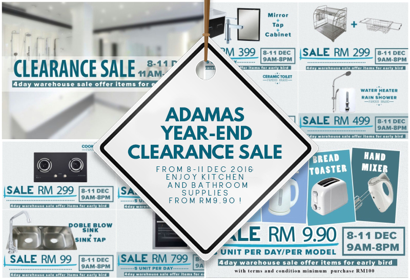 Adamas Year End Clearance Sale From 8 11 Dec 2016 Enjoy Kitchen