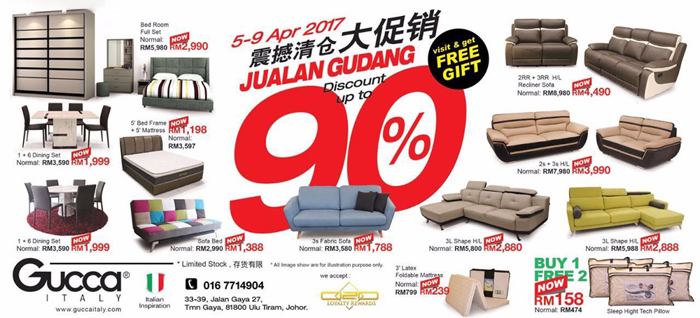 Score Up To 90 Discount At Gucca Italy Gudang Sale From 5 9 April 2017 Johor Now