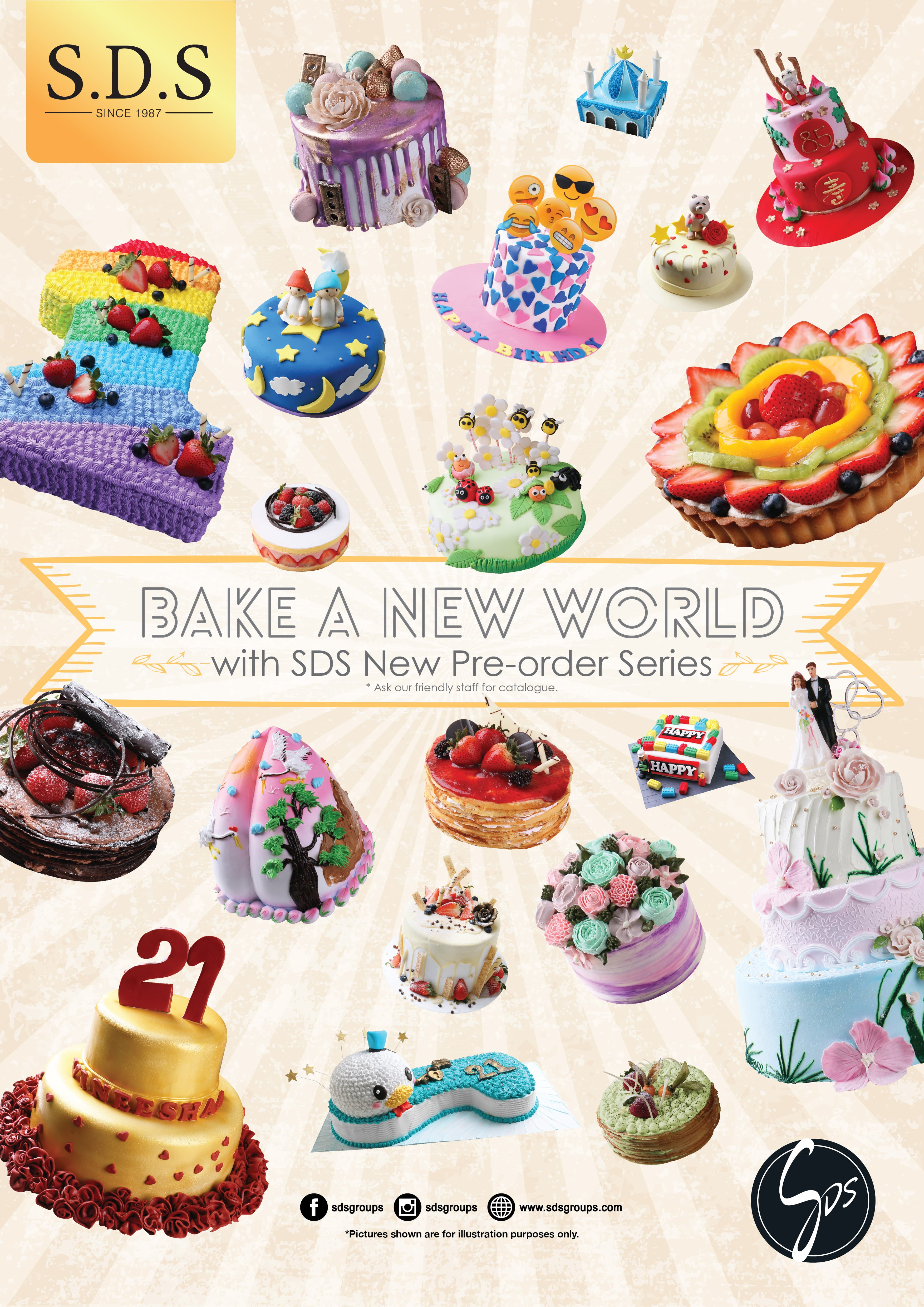 SDS Brand New Pre Ordering Cake Catalogue Is Available In A Choice Of More Than 130 Types Across 15 Categories Specially Featured For Various